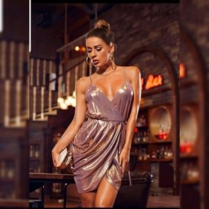 Metallic Shimmer Lame Mini Dress